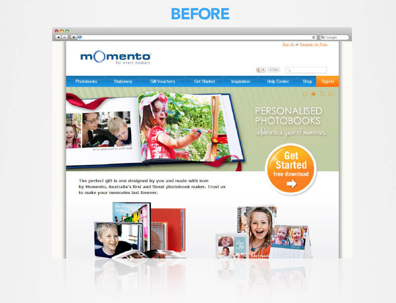 momento website before brand upgrade